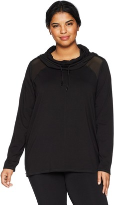 Andrew Marc Women's Plus Size Long Sleeve Hooded Pullover with MESH