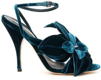 Marco De Vincenzo Velvet Sandals With Flower