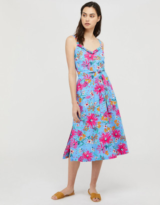Under Armour Dhana Floral Dress in Linen and Organic Cotton Blue