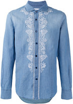 Ermanno Scervino embroidered panel buttoned shirt - men - Cotton/Linen/Flax - 48