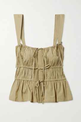 Ulla Johnson Lulu Tie-detailed Gathered Cotton-poplin Top - Army green