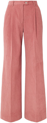 Acne Studios Pina Pleated Cotton-blend Corduroy Wide-leg Pants