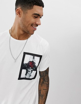 Religion t-shirt with skull rose patch print-White