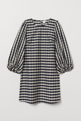H&M Balloon-sleeved Dress - Blue