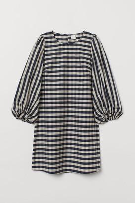 H&M Balloon-sleeved Dress - Blue