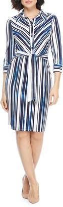 Maggy London Striped Tie Waist Shirt Dress