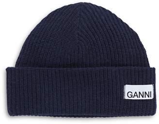 Ganni Logo Wool-Blend Beanie