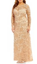 Tadashi Shoji Plus Long-Sleeve Corded Lace Gown