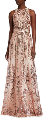 Naeem Khan Sequin Embroidered Sleeveless A-Line Gown