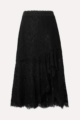 Alice + Olivia Alice Olivia - Olimpia Crochet-trimmed Asymmetric Corded Lace Midi Skirt - Black