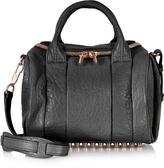 Alexander Wang Rockie Black Pebbled Leather Satchel w/Rose Gold Studs