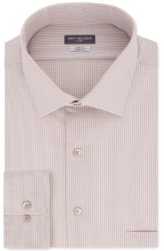 Van Heusen Men's Big & Tall Classic/Regular Fit Non-Iron Flex Collar Stretch Washed Sand Check Dress Shirt