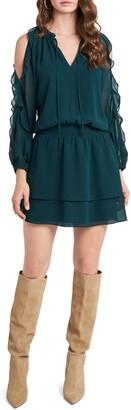 1 STATE Cold Shoulder Long Sleeve Chiffon Dress