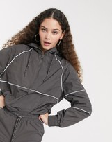 Monki hooded jacket with contrast piping in grey