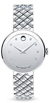 Movado Women's Sapphire Diamond & Stainless Steel Bezel-Free Quilted Bracelet Watch