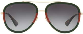 Gucci Striped Aviator Sunglasses