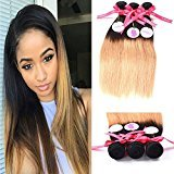 Punzel's Black Gold Two-tone Color 1b/27 6A Brazilian Virgin Ombre 100% Unprocessed Human Hair 3 Bundles Straight Hair Weft Length 12 14 16 Inches 100g/pc