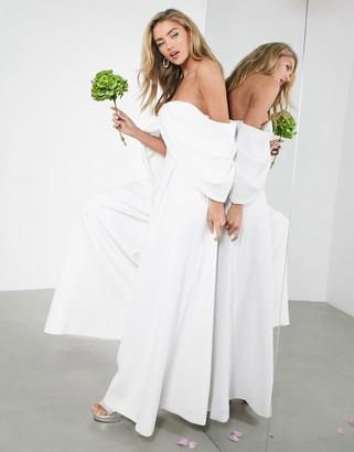 ASOS EDITION Erin off-shoulder drape wedding jumpsuit