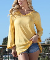 Ananda's Collection Women's Tunics yellow - Yellow Pom-Pom Accent Long-Sleeve Tunic - Women & Plus