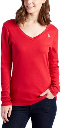 U.S. Polo Assn. Women's Tee Shirts CRIM - Crimson Long-Sleeve V-Neck Tee - Women
