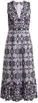 Jonathan Simkhai V-neck Geometric-embroidered Cotton Jumpsuit - Womens - White Navy