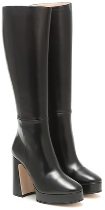 Gucci Leather knee-high platform boots