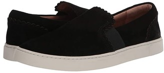 Frye Ivy Scallop Slip-On (Black Suede) Women's Shoes