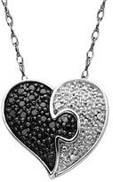 Zales 1/5 CT. T.W. Enhanced Black and White Diamond Puzzle Heart Pendant in 10K White Gold