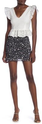 Love, Fire Print Mesh Mini Skirt