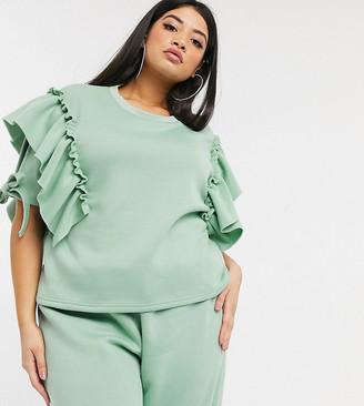 NaaNaa Plus frill short sleeve sweatshirt co ord in green