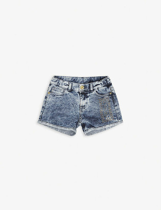 Versace Crystal-embellished logo cotton-blend denim shorts 8-14 years
