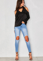 Missy Empire Meadow Blue Ripped Knee Skinny Denim Jeans