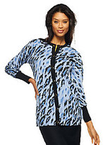 Bob Mackie As Is Bob Mackie's Long Sleeve Leopard Print Button Front Cardigan