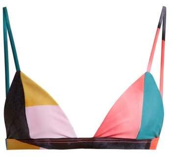 Mara Hoffman Astrid Triangle Bikini Top - Womens - Blue Multi
