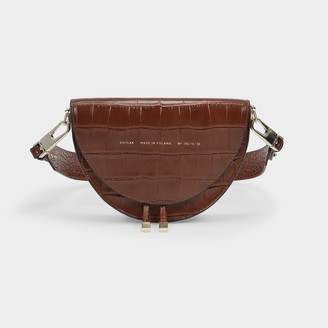 CHYLAK Saddle Bag In Brown Croc Embossed Leather