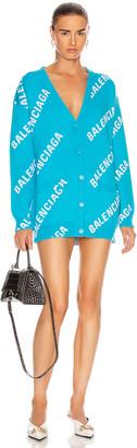 Balenciaga Long Sleeve Logo Cardigan in Turquoise & White | FWRD