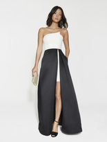 Halston Strapless Satin Faille Color Block Gown