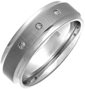 Theia 0.06 ct Diamond 7 mm Flat Court Titanium Matt Ring - Size K