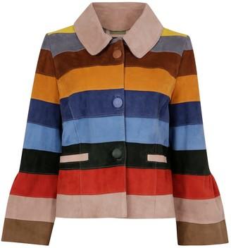 Zut London Suede Leather Short Striped Jacket - Autumn Colour Wave
