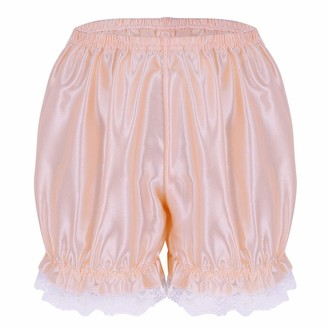 dPois Women's Shiny Satin Lace Hem Pumpkin Ruffles Bloomers Frilly Lounge Security Short Pants White One_Size