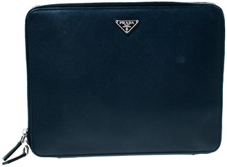 Prada Navy Blue Saffiano Leather Document Holder