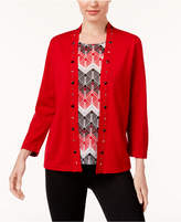 Alfred Dunner Petite Embellished Layered-Look Sweater