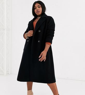 Helene Berman Plus double breasted longline coat in wool blend