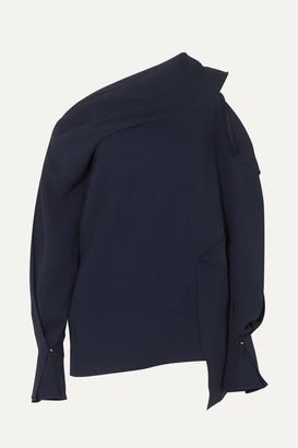 Roland Mouret One-shoulder Cutout Crepe Blouse - Navy