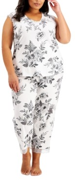 Charter Club Plus Size Floral-Print Pajama Set, Created for Macy's