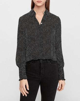 Express Printed Smocked Cuff Shirt
