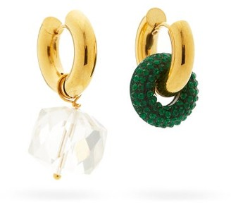 Timeless Pearly Mismatched Crystal & 24kt Gold-plated Earrings - Green Multi