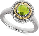 Macy's Peridot (1 ct. t.w.) & Diamond Accent Two-Tone Ring in Sterling Silver & 14k Gold