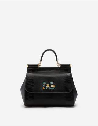 Dolce & Gabbana Medium Calfskin Sicily Bag With Iguana Print And Crystal Logo Patch