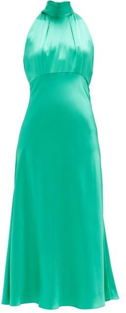 Saloni Michelle High-neck Silk-satin Midi Dress - Mid Green